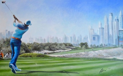 """Rory Dubai Desert Classic 2015"" Oil on canvas, 120 x 240 cm, Signed - Sold"