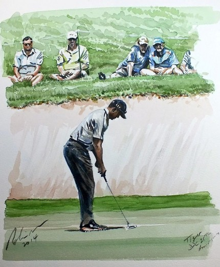 """Tiger Woods 2014 Dubai Desert Classic 7th Par 3"" Watercolour, 40 x 30 cm, Signed, Inscribed, Dated, Dry mounted & Framed"
