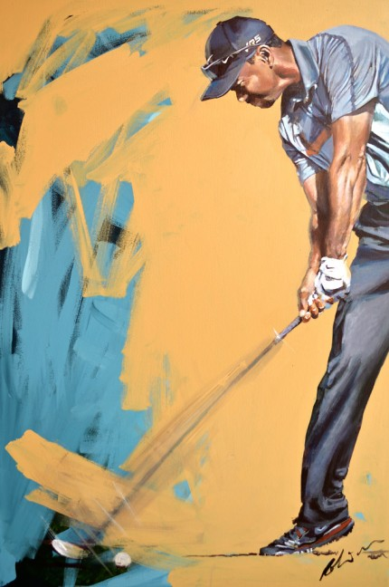 """Tiger Woods, 2014"" Acrylic on canvas, 48 x 32 inches, Signed"