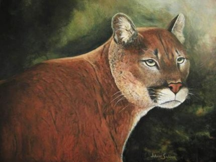 """""""Portrait of a Mountain Lion"""" Acrylic on canvas, 18 x 24 inches, Signed"""