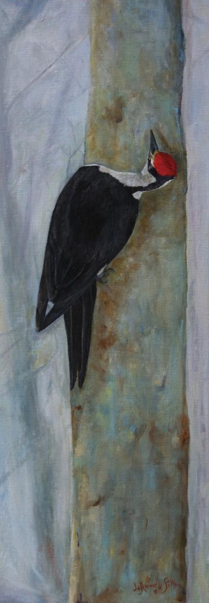 """A Good Listener"" Acrylic on canvas, 31.5 x 11.5, Signed"