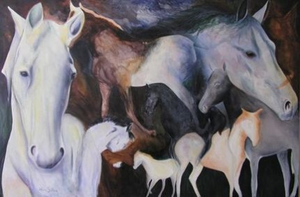 """""""The Dream"""" Acrylic on canvas, 44 x 66 inches, Signed"""