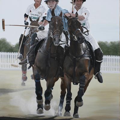 """Riding Off, Acrylic on Deep Canvas, 24""""x24"""""""