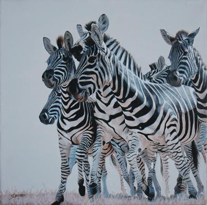 "The Gathering, Acrylic on Canvas, 12""x12"""