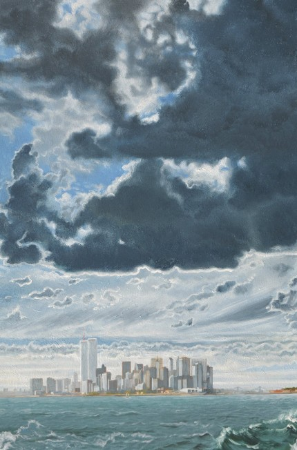 """Dramatic Sky Over Manhattan From The Staten Island Ferry in 1982"" Oil on panel, 24 x 16 inches, Signed"