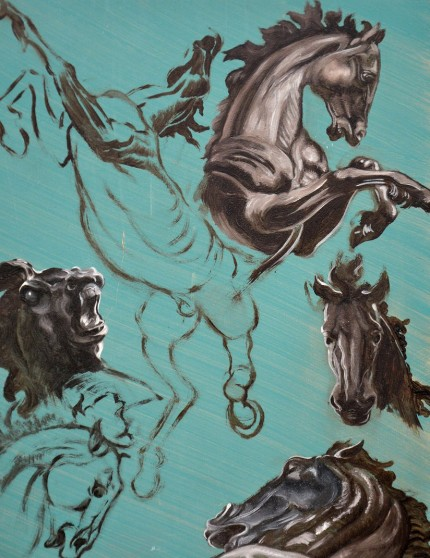 """Horse Studies on Blue"" Oil on panel, 13.75 x 10.75 inches, Signed"