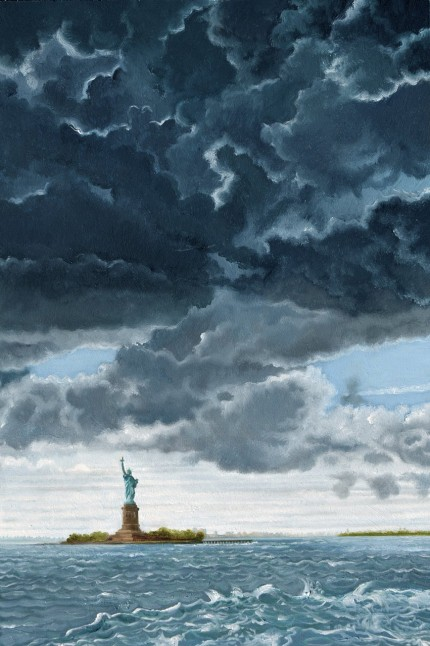 """The Statue of Liberty From The Staten Island Ferry in 1982"" Oil on panel, 24 x 16 inches, Signed"