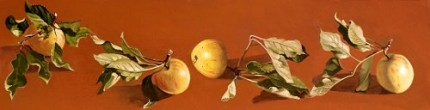 """Four Apples"" (From the artist's garden) Oil on panel 8 x 30 inches, Signed"