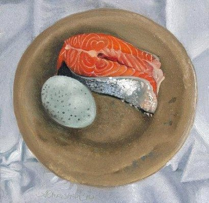 """Salmon and Duck Egg 1"" Oil on panel, 6 x 6 inches, Signed"