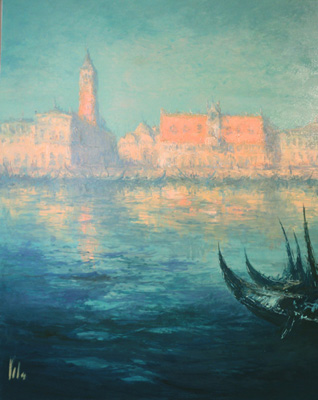"""Saint Mark's square from the sea"" Oil on panel, 17 x16 inches, Signed"