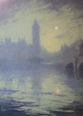 """London in Fog"" Oil on panel, 16 x 12 inches, Signed"
