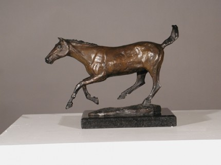 """Agosto Cavalla"" (August Mare), Bronze on Cambrian Black Granite, 10.5 x 16 x 6.7 inches"