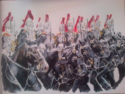 """""""Blues and Royals"""" Pen and Ink, 22 x18 inches"""