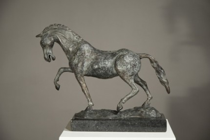"""Cavalla Caracollante"" (Prancing Mare), Bronze on cambrian black granite, 11 x 14.75 x 4.5 inches"