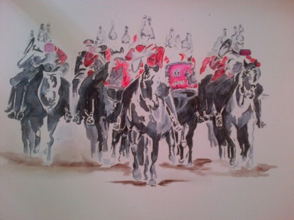 """""""Parade Practice"""" Pen and Ink, 22 x 18 inches"""