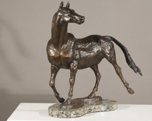 """Cowboy"" (Morgan Horse), Bronze on black vermont granite, 15.75 x 14 x 9 inches"