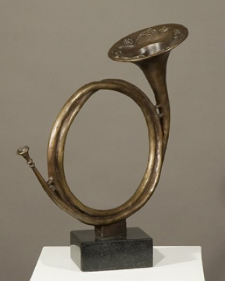 """Heralding the Hunt"" (Hunting Horn), Bronze on black vermont granite, 16.25 x 14 x 9.5 inches"