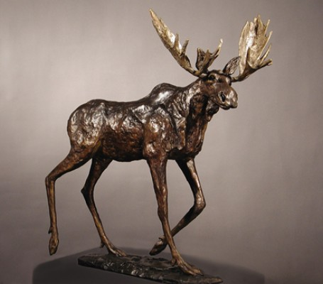 """Rutting Regalia"" (Bull Moose), Bronze on cambrian black granite, 23.5 x 19 x 9 inches"