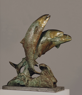 """The Wild Run"" (Spawning Salmon), Bronze on champlain black marble, 24 x 21 x 12 inches"