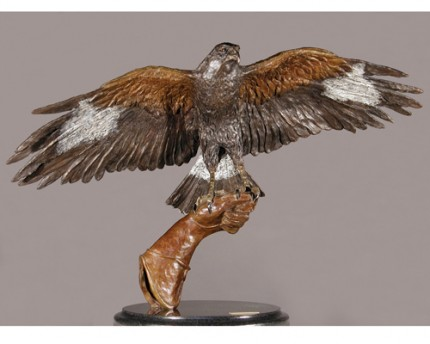 """The Hunters"" (For Oban) (Harris Hawk) Bronze on cambrian black granite, 25 x 40 x 18 inches"