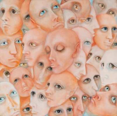 """""""Autorretrato"""" (Self Portrait), Oil on canvas, 20 x 20 inches, Signed. Private Collection © Bridget Tichenor Estate"""