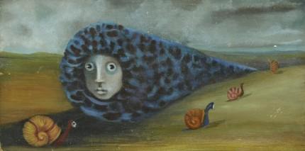 """""""Gusanos y Caracoles"""" 1964, Oil on board, 4 ¾ x 9 ⅝ inches (12.07 x 24.46 cm) Signed, Exhibitions: Mexico City, Galeria de Antonio Souza, 1965"""