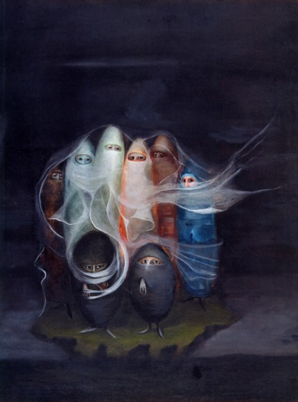 """Los surrealists"" (The Surrealists), also known as ""Los Especialistas"" (The Specialists), 1956, Oil on Masonite, 15 ¾ x 11 ⅞ inches (40 x 30.2 cm). Collection of Carlos de Laborde"
