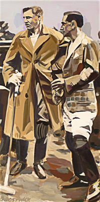 """Before the Match"" 2009, Acrylic on wood, 45 x 22.5 inches, Signed lower left"