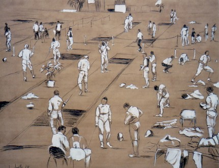 """Fencers' Training"" (Palestra di scherma) Charcoal & Oil on paper, 39.5 x 49 inches, Signed"