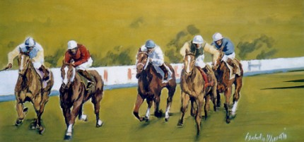 """Horse Race - 5 Riders"" (Corsa di cavalli in 5) Oil on canvas, 20 x 41 inches, Signed"