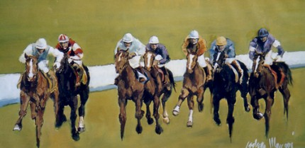 """Horse Race - 7 Riders"" (Corsa di cavalli in 7) Oil on canvas, 20 x 41 inches, Signed"