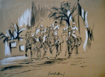 """Polo, the Scrum"" (Polo, la mischia) 2006, Charcoal and Oil on paper 39.5 x 49 inches, Signed"