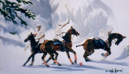 """Polo on the Snow"" (Polo sulla neve) Oil on canvas, 24.5 x 39.5 inches, Signed"