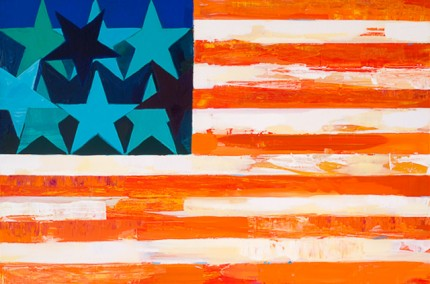 """New Flag 3"" Acrylic on wood, 24 x 36 inches"