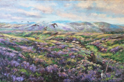 """""""Red Grouse Drive"""" Oil on canvas, 29 x 39 inches, Signed"""