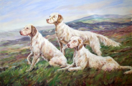 """""""Setters On The Moor"""" Oil on canvas, 34 x 46 inches, Signed"""