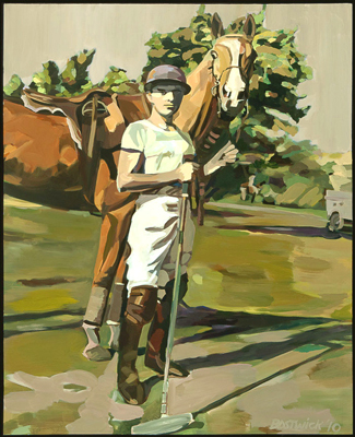 """Portrait of a Polo Player - Pete Bostwick"" 2010, Acrylic on canvas, 48 x 60 inches, Signed & Dated lower right"