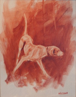 """""""Pointer In Red"""" Oil on canvas, 14 x 11 inches, Signed"""