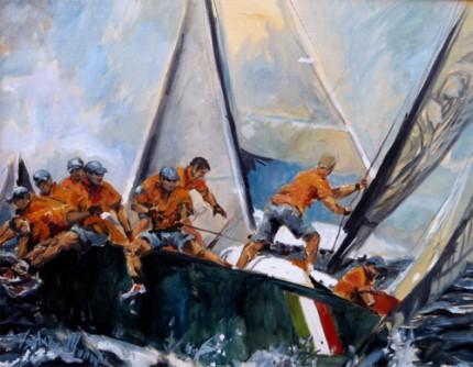 """""""America's Cup"""" (Regata di Coppa America) Oil on canvas, 22 x 28 inches, Signed"""