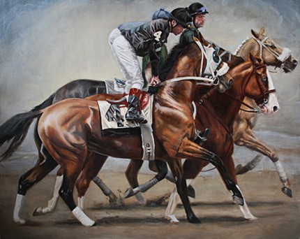 """""""Sport of Kings"""" Oil on canvas, 48 x 60 inches, Signed"""