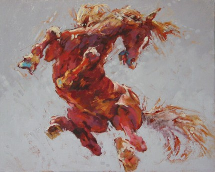 """Equine #12"" Oil on linen panel, 16 x 20 inches, Signed"