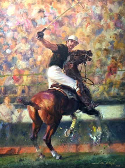 """Polo Action"" 1989, Oil on canvas, 30 x 24 inches, 40 x 32 inches, Framed, Signed & Dated"