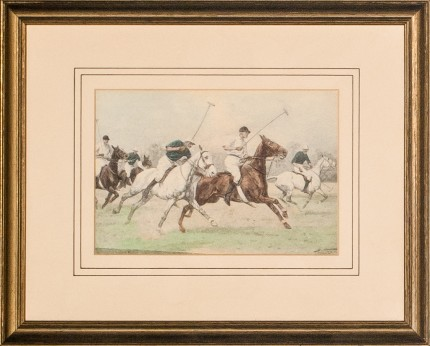 "George Wright, British (1860-1942) ""5 Polo Players"" Print, 4.25 x 6.25 inches, Signed bottom right"