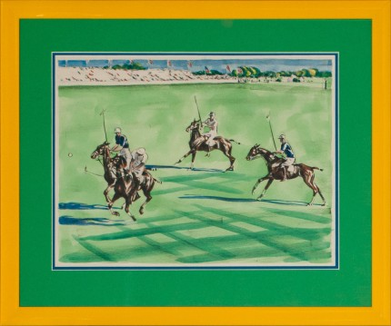 "Joseph Webster Golinkin, American (1896-1977) ""Four Polo Players at the International Cup"" Coloured print, 10.25 x 13.25 inches"