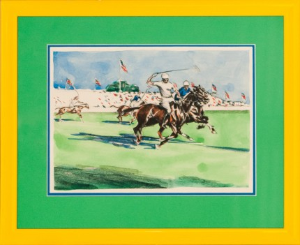 "Joseph Webster Golinkin, American (1896-1977) ""International Polo Field Scene"" Coloured print, 8 x 11.25 inches"