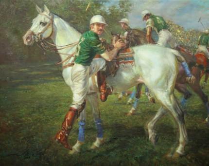 """Gonzalo Pieres 'La Espadana', Argentine Open, 1986"" Oil on canvas, 31 x 38 inches, Signed"