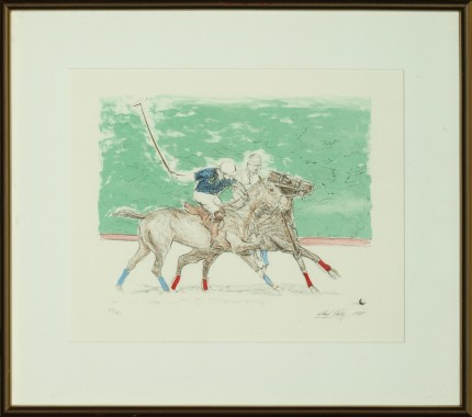 "Lloyd Kelly, American Contemporary ""Polo Players"" Hand-coloured print, Limited edition 25/50, 9 x 11 inches, Signed & Numbered lower right"