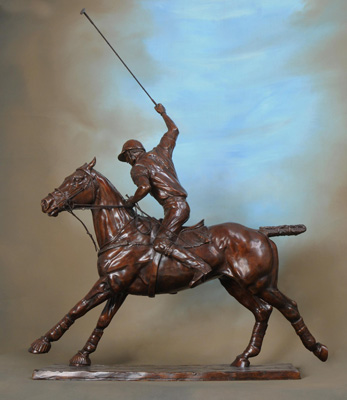 "Gill Parker, British Contemporary ""Polo XII: Offside Forehand"" Bronze Edition 1 of 9, mid-brown patination, 31 x 25 inches, Signed and Numbered. Two views of this sculpture depicting a darker patina and another, lighter and more golden in colour are available."