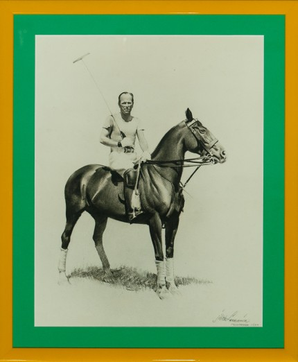 "Jack Lorraine ""Palm Beach Polo"" 1951, Charcoal on paper, 18 x 14 inches, Signed & Dated lower right"