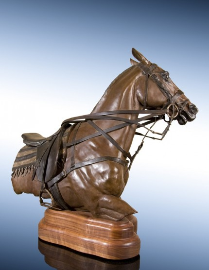 "Elizabeth Guarisco, American Contemporary ""Power Player"" View from right, Edition 23 of 24, Bronze, 21 x 12 x 24 inches, Signed, Dated, and Inscribed with Edition # 23/24"
